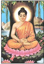 Buddha meditoimassa vuonna 528 e.Kr.