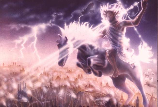 He aquí  un caballo blanco, y el que lo montaba se llamaba Fiel y Verdadero, y  con justicia juzga y pelea. Sus ojos eran como llama de fuego, y había  en su cabeza muchas diademas;... Y en su vestidura y en su muslo tiene  escrito este nombre: REY DE REYES Y SEÑOR DE SEÑORES